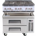 Cooking Performance Group 36RRBNL 6 Burner Gas Countertop Range / Hot Plate with 2 Drawer Refrigerated Chef Base - 132,000 BTU